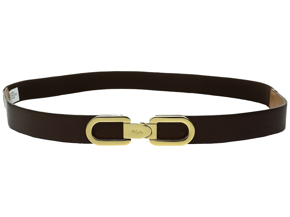 LAUREN Ralph Lauren - 1 Lexington Link Interlock Closure on Smooth PU Tabs w/ Stretch Back (Chocolate) Women's Belts