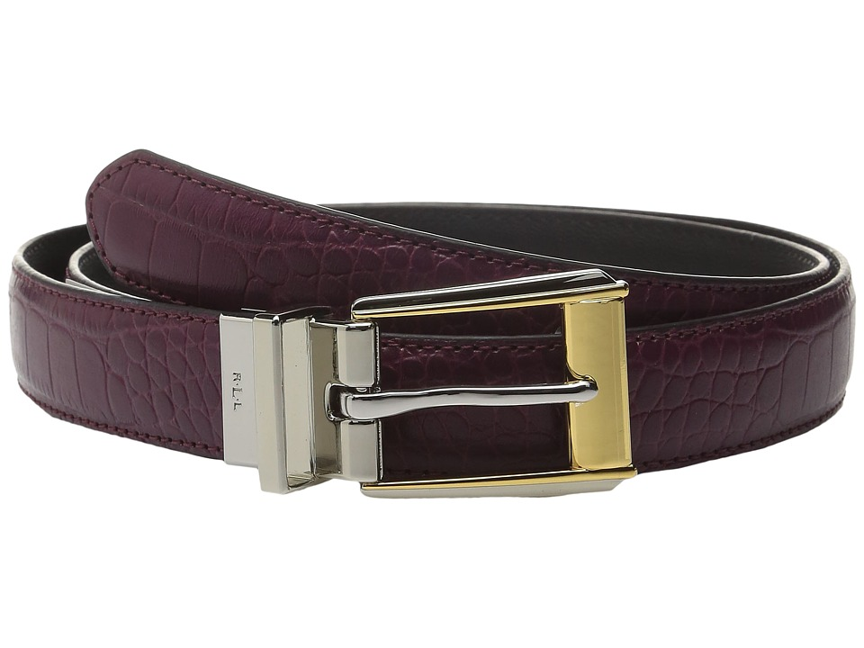 LAUREN Ralph Lauren - 3/4 Two-Tone Dress Buckle Reversible Faux Croc to Smooth PU (Claret/Black) Women's Belts