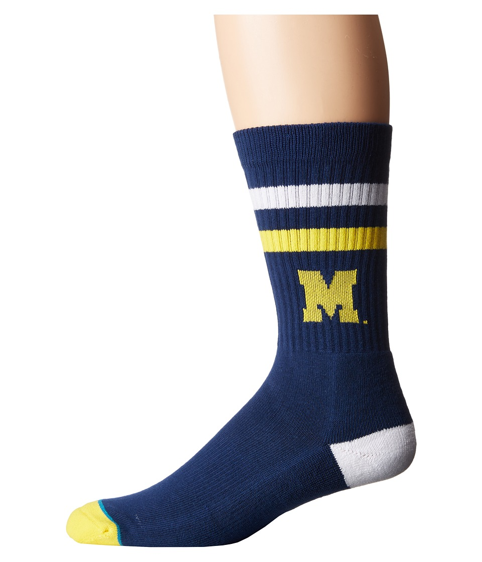 Stance - Michigan (Blue) Men's Crew Cut Socks Shoes