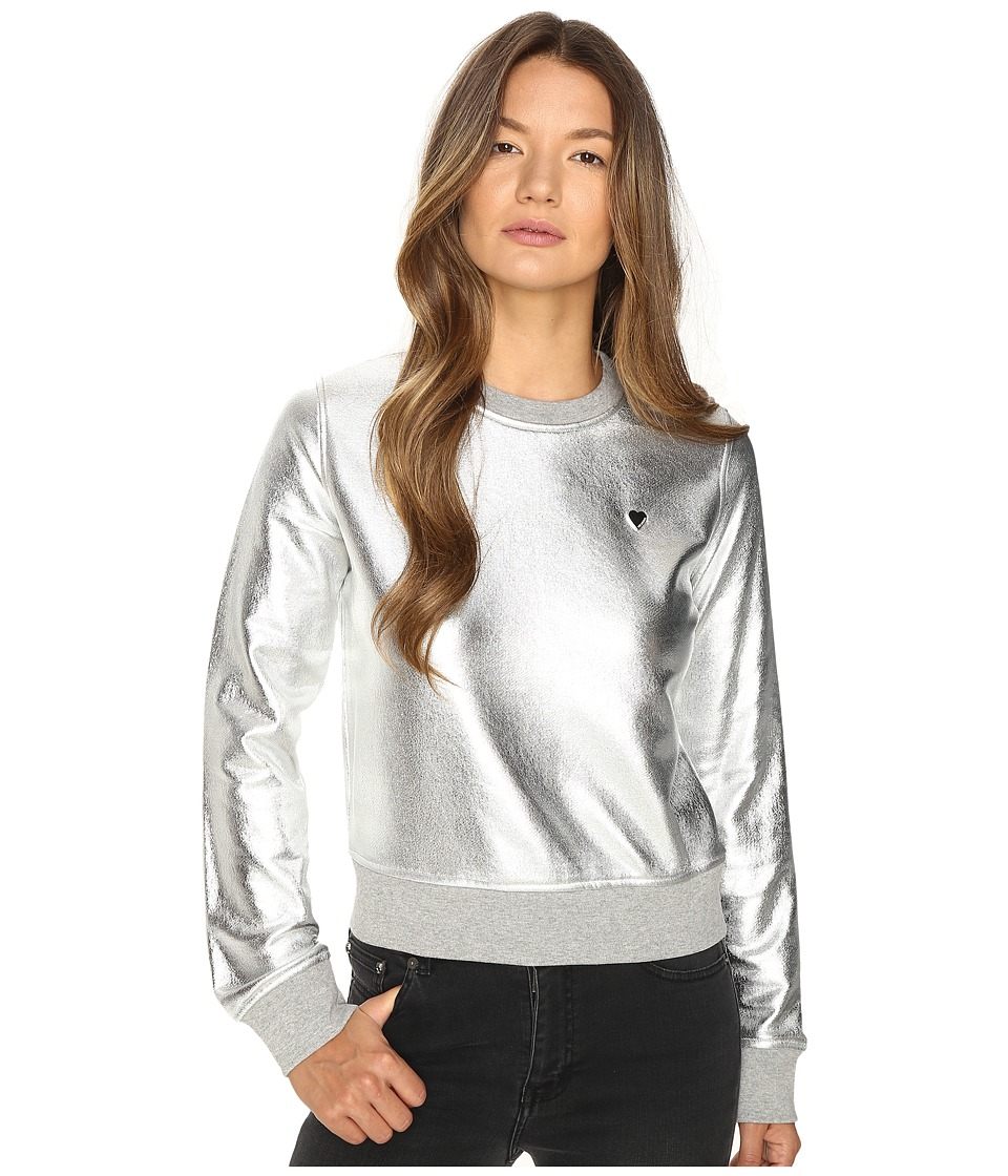 LOVE Moschino - Metallic Crew Neck (Silver) Women's Long Sleeve Pullover