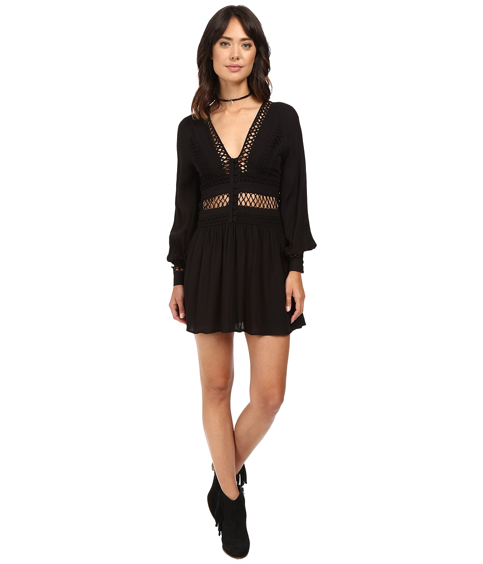 Free People - I Think I Love You Mini Dress (Black) Women's Dress