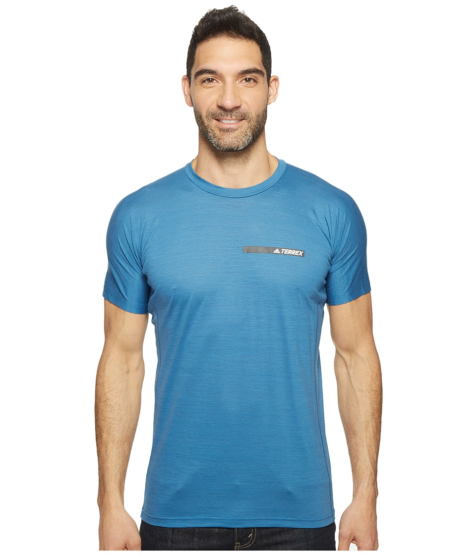adidas Outdoor - Agravic Tee (Core Blue) Men's Short Sleeve Pullover