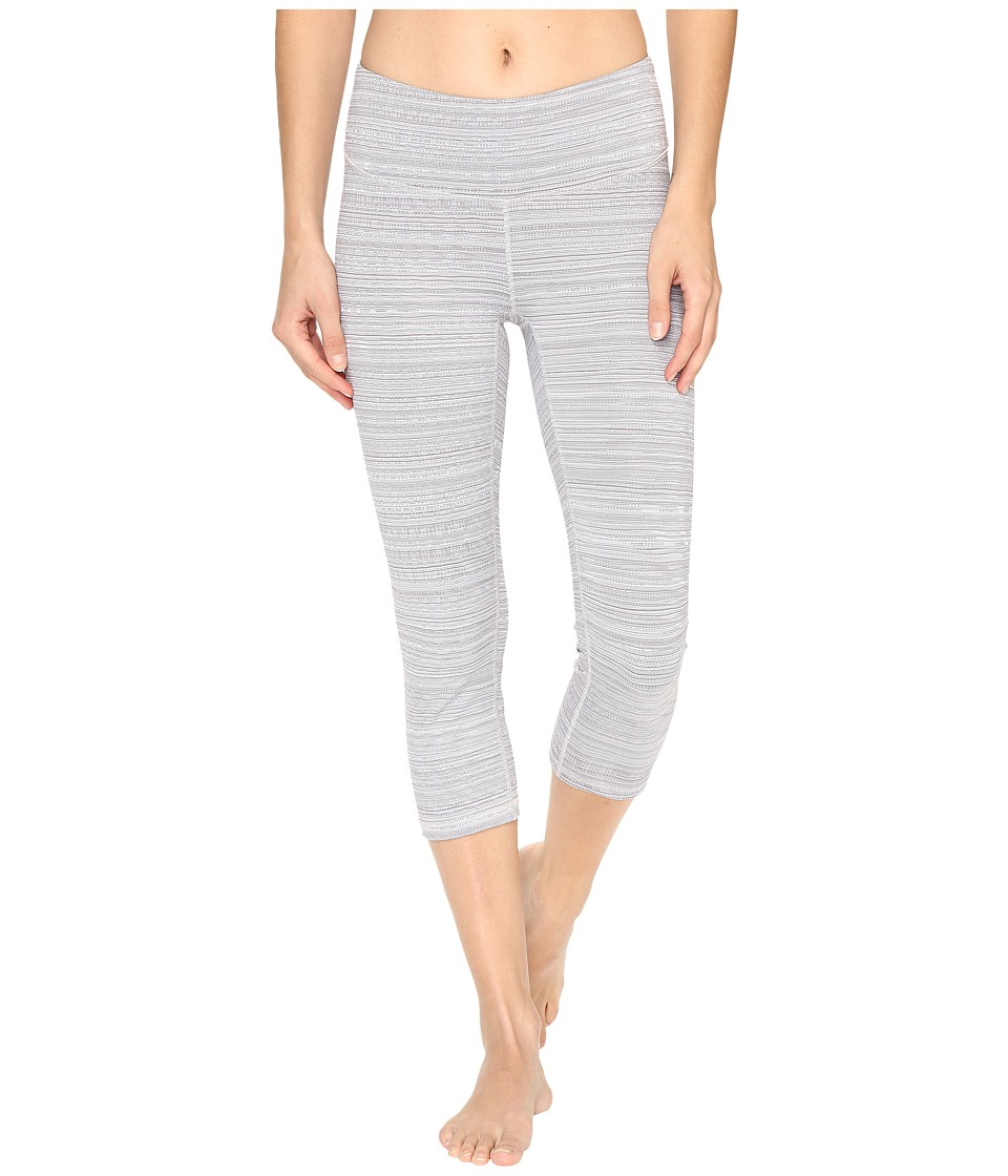 Lucy - Studio Hatha Capri Leggings (Silver Filigree Half Tone Stripe) Women's Workout