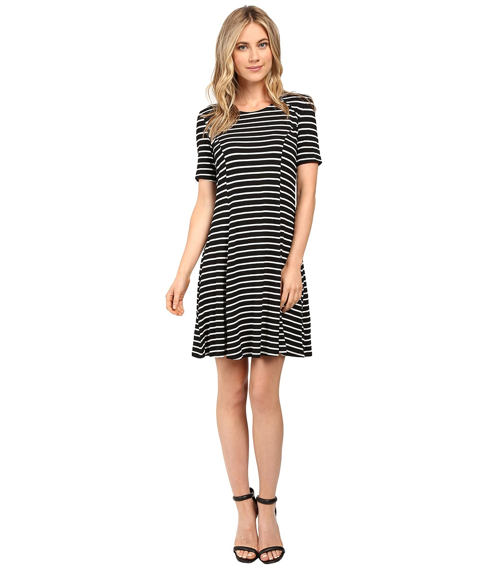 Culture Phit Elenor Striped Short Sleeve Dress (Black/White) Women