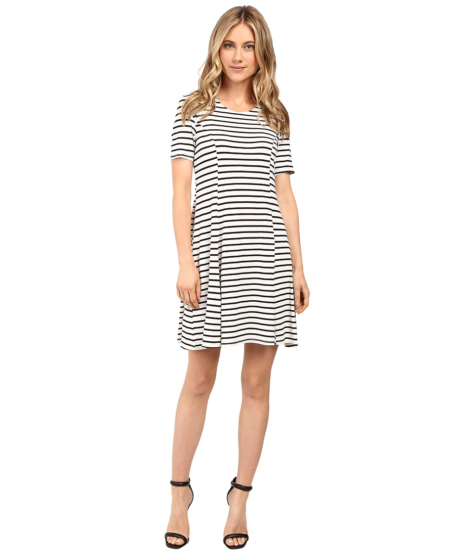 Culture Phit Elenor Striped Short Sleeve Dress (White/Black) Women