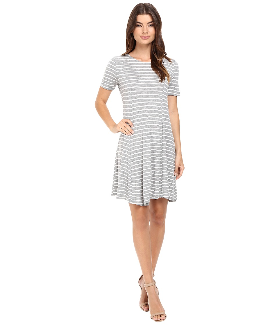 Culture Phit - Elenor Striped Short Sleeve Dress (Heather Grey/White) Women's Dress