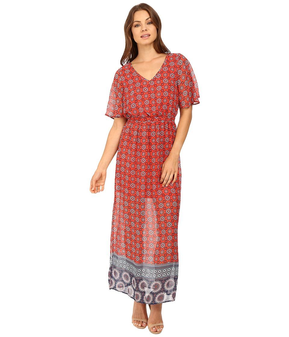 Brigitte Bailey - Mona Short Sleeve Maxi Dress with Side Slit (Red) Women's Dress