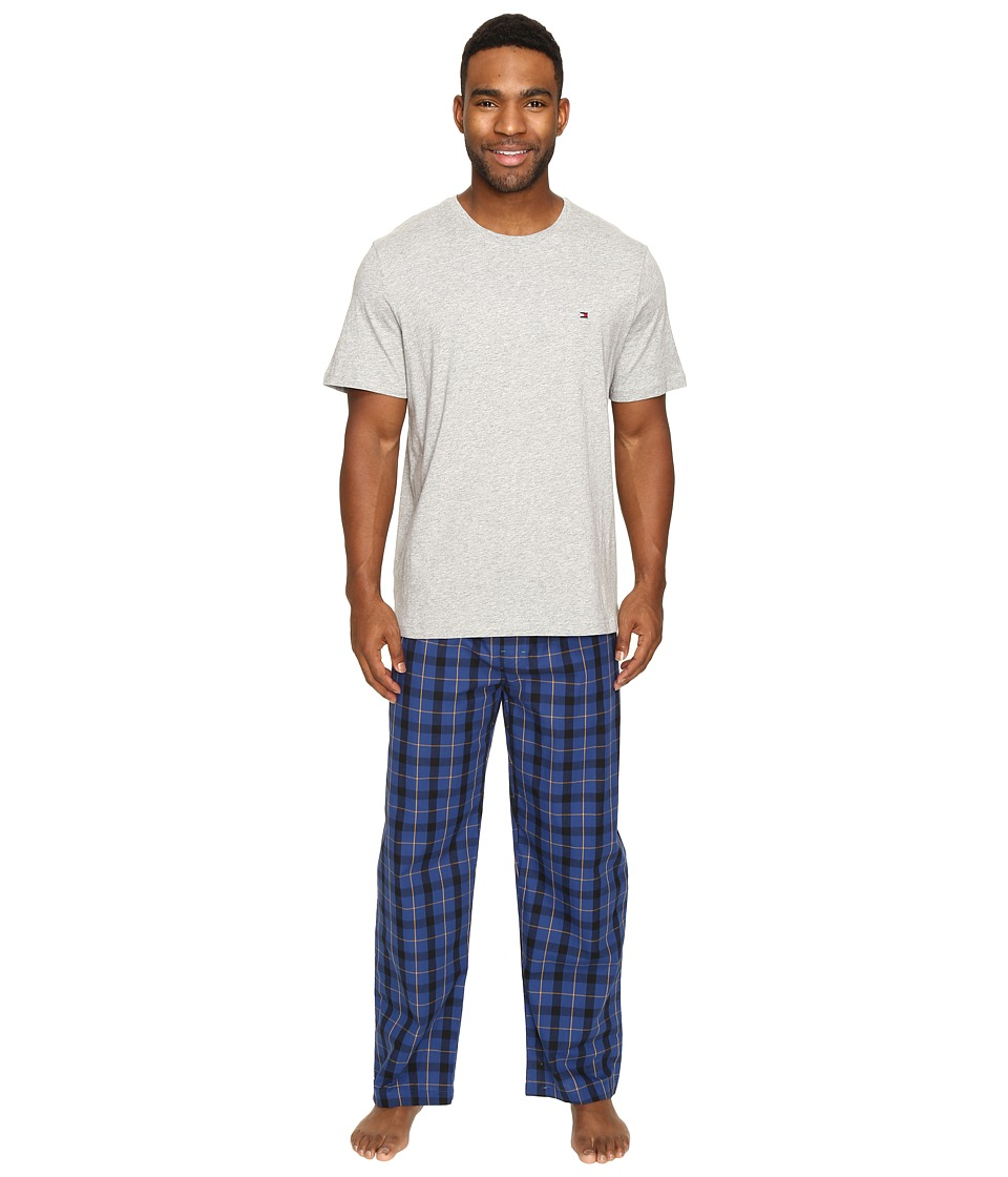 Tommy Hilfiger - Poplin Pants Crew Neck T-Shirt Set (Royal) Men's Pajama Sets