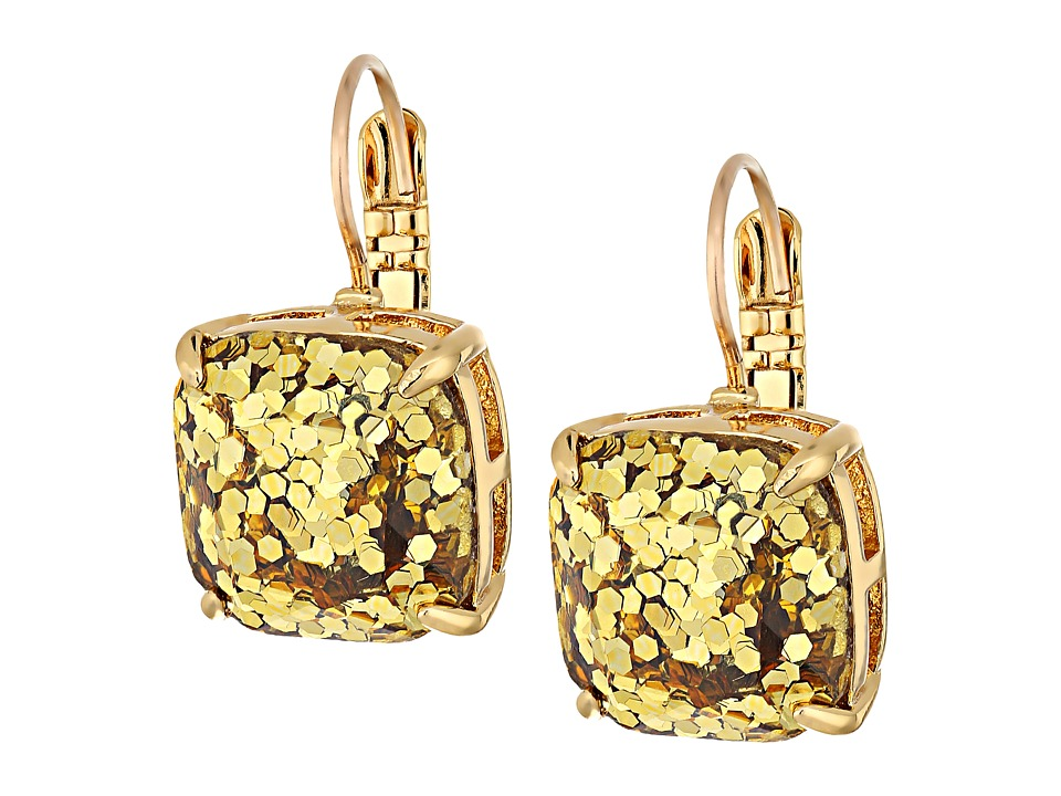 Kate Spade New York - Small Square Leverback Earrings (Gold Glitter) Earring
