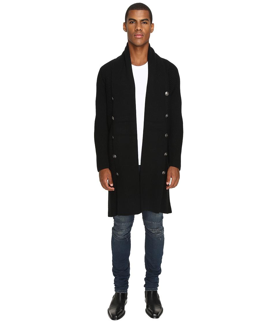 Pierre Balmain - Classic Embellished Coat (Black) Men's Coat