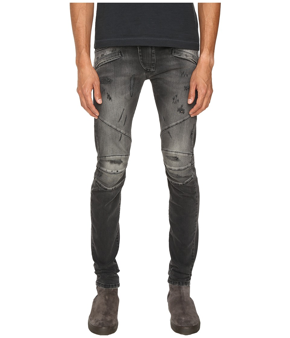Pierre Balmain - Classic Distressed Biker Jeans (Black Denim) Men's Jeans