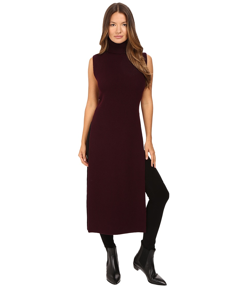 McQ - Multi Gauge Long Dress (Burgundy) Women's Dress