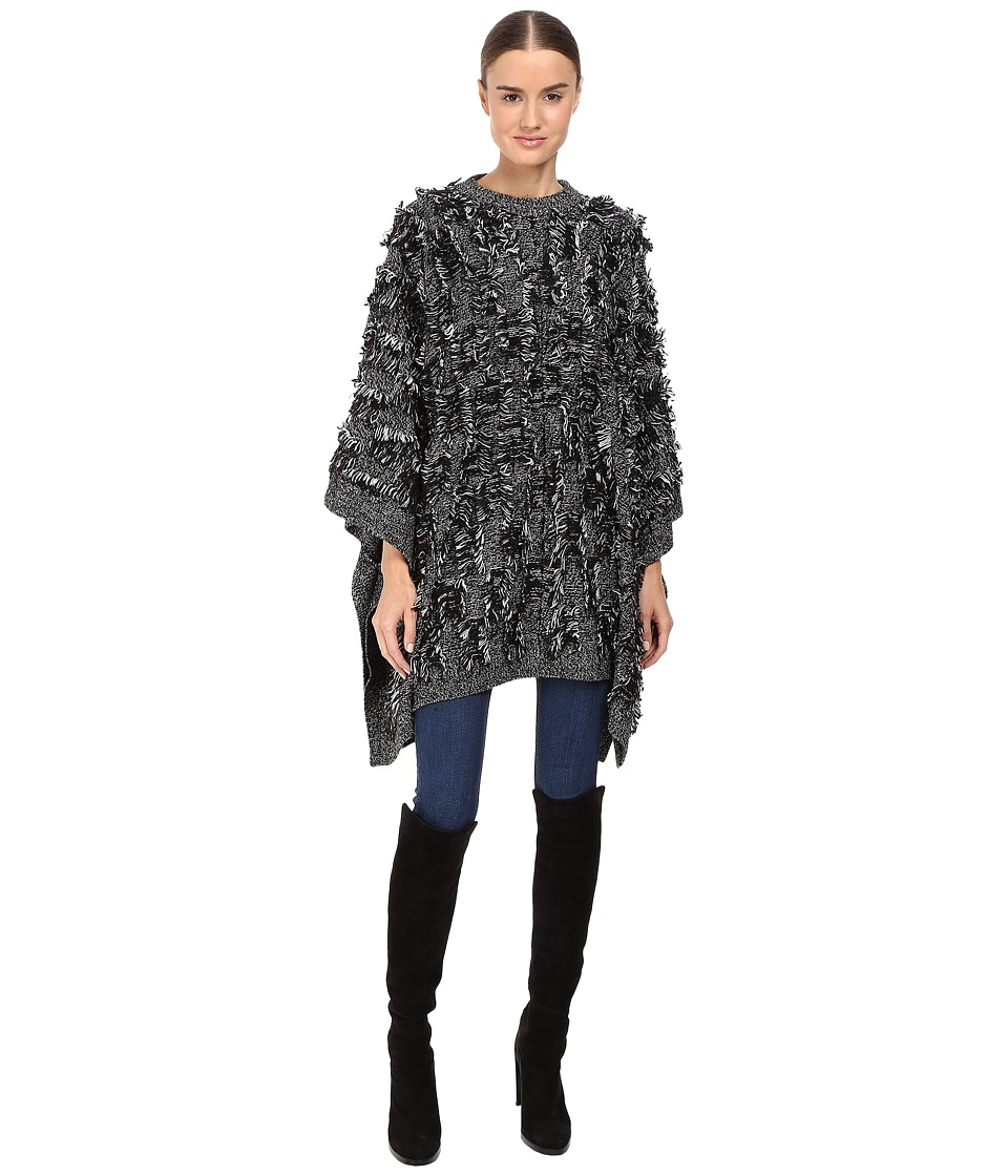 McQ - All Over Fringe Poncho (Black/White) Women's Clothing