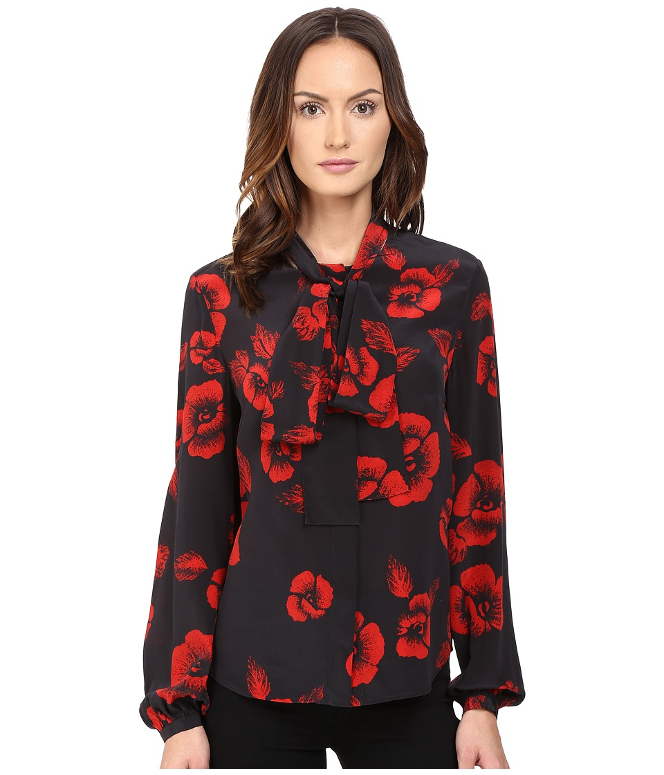 McQ - Knotted Neck Blouse (Black/Red) Women's Blouse