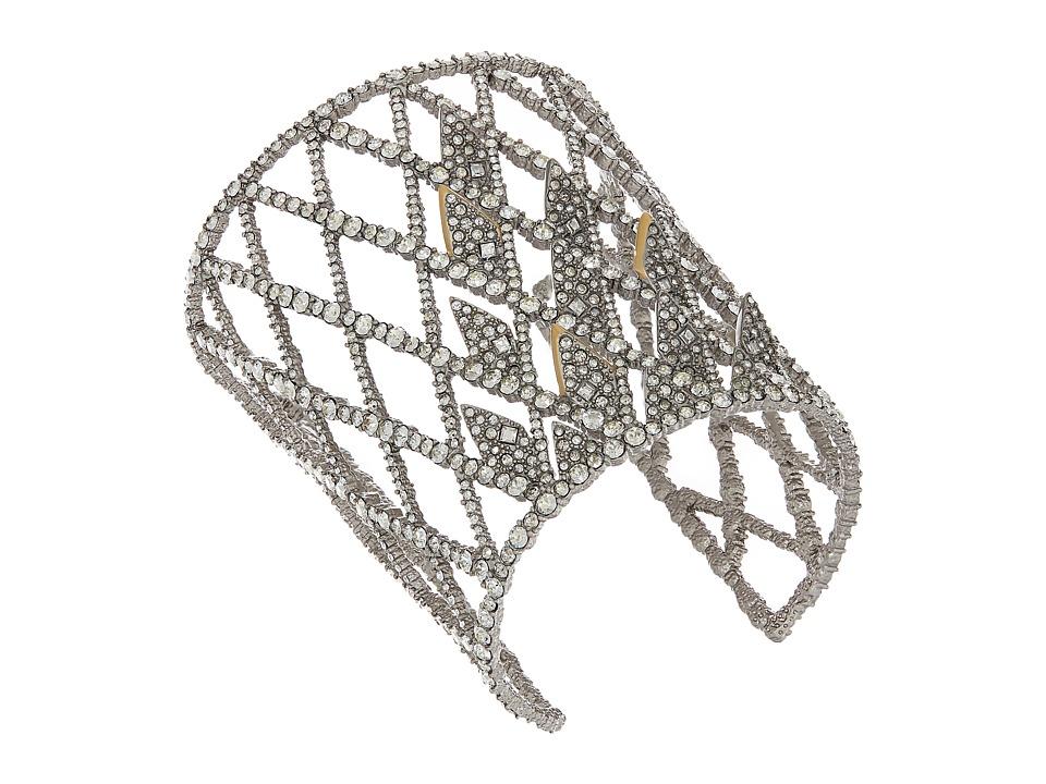 Alexis Bittar - Crystal Encrusted Spiked Lattice Cuff Bracelet (Matte Rhodium/Matte 10K Gold) Bracelet