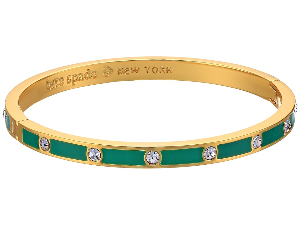 Kate Spade New York - Set in Stone Enamel Stone Hinged Bangle (Clear/Emerald) Bracelet