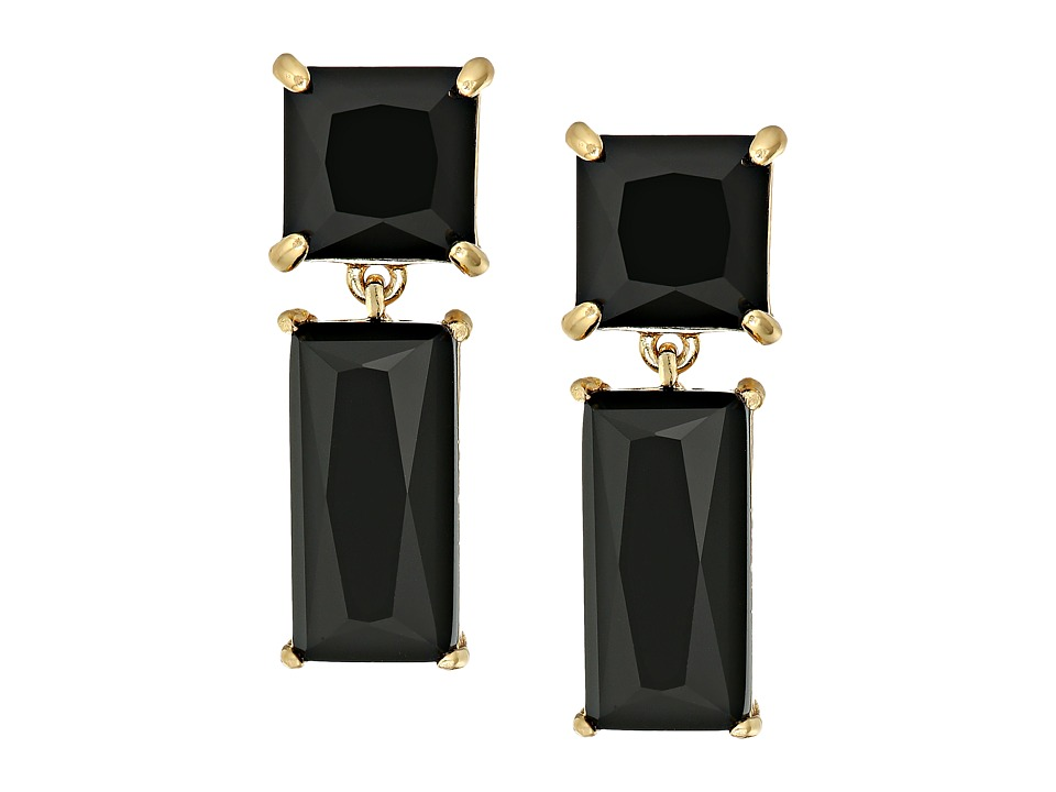 Kate Spade New York - Shine On Baguette Drop Earrings (Jet) Earring