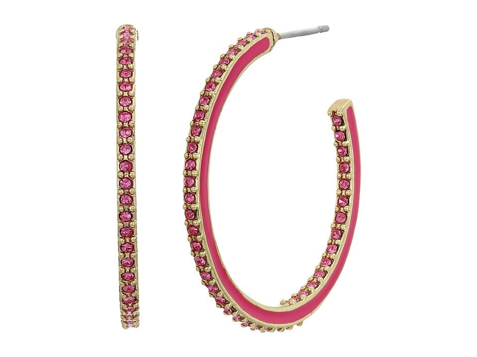 Kate Spade New York - Shine On Enamel Hoops (Pink Multi) Earring