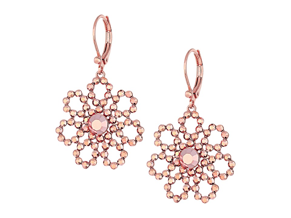 Kate Spade New York - Crystal Lace Leverback Drop Earrings (Rose Gold) Earring