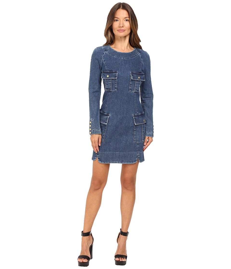 Pierre Balmain - Denim Long Sleeve Dress (Blue Denim) Women's Dress