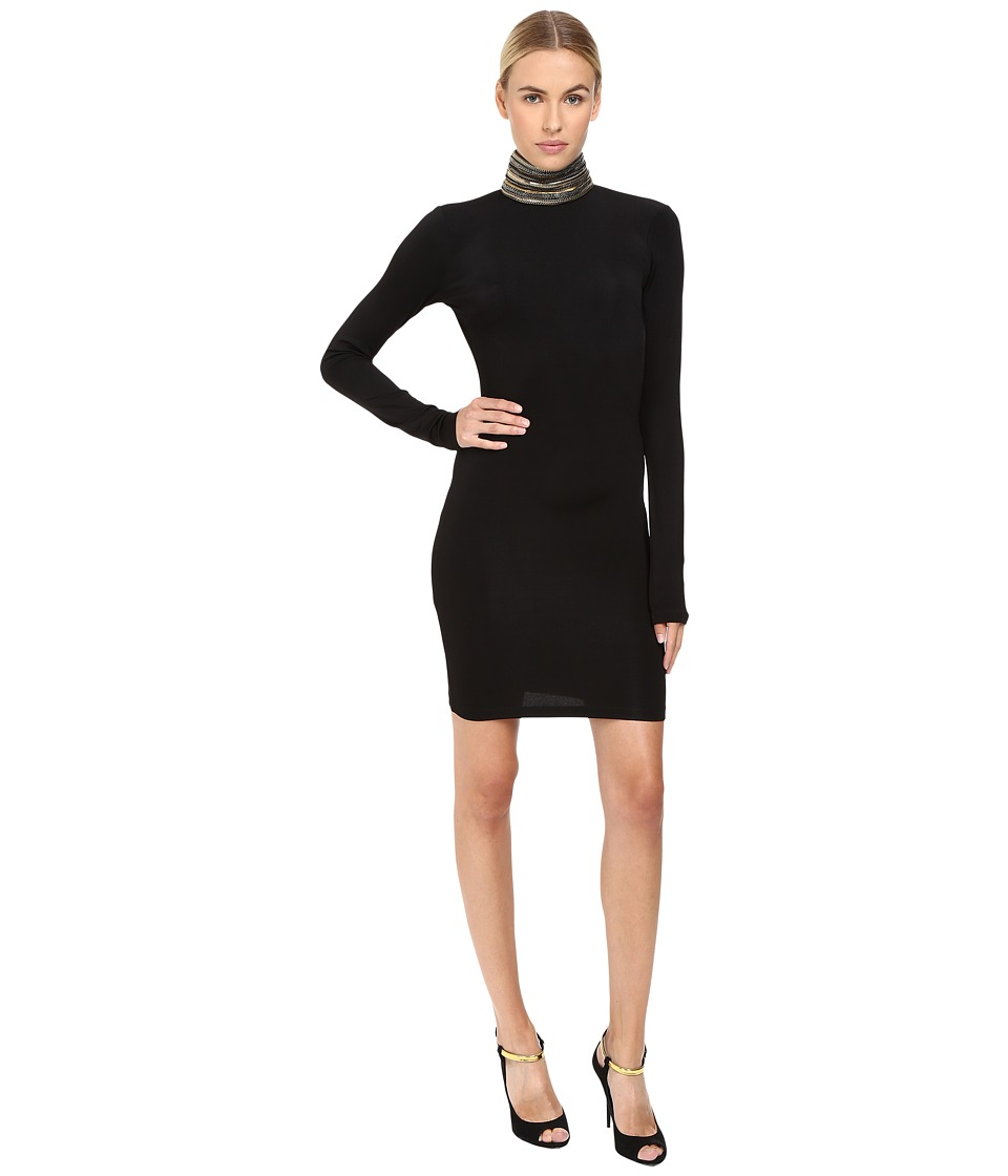 Pierre Balmain - Mixed Metals High-Neck Dress (Black) Women's Dress