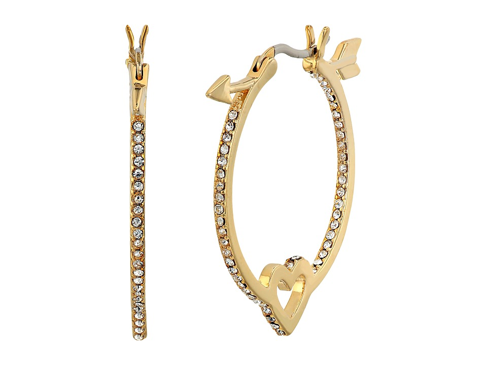 Kate Spade New York - Be Mine Heart and Arrow Hoops (Clear/Gold) Earring