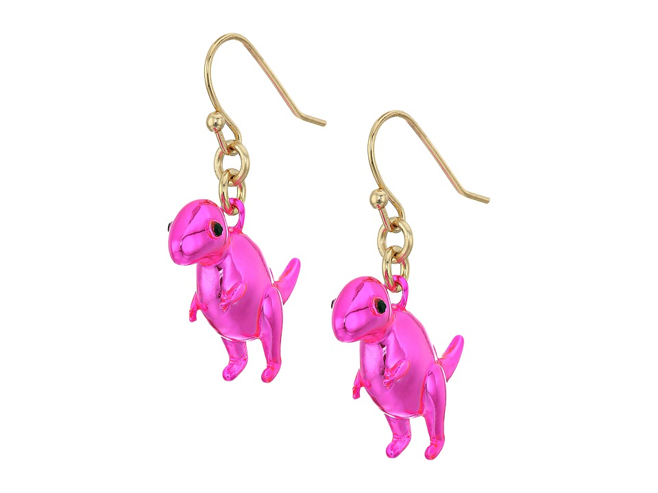 Kate Spade New York - Whimsies T-Rex Drop Earrings (Pink Multi) Earring