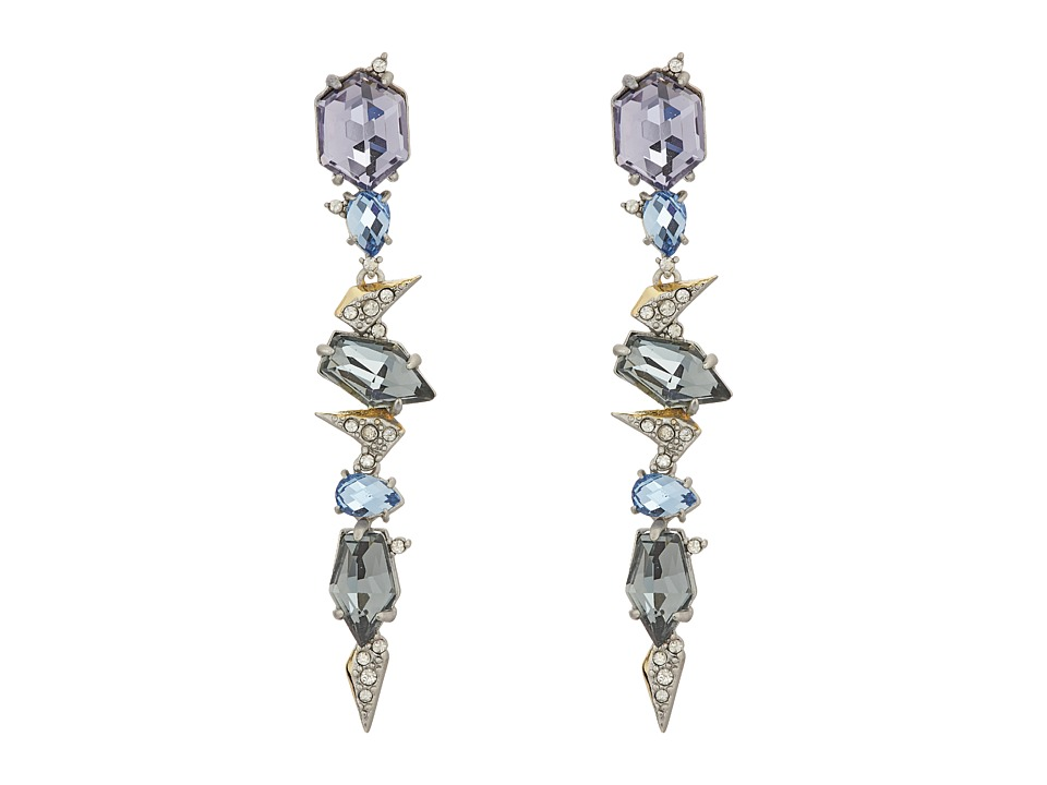 Alexis Bittar - Crystal Encrusted Mosaic Lace Dangling Post w/ Fancy Cut Stones Earrings (Matte Rhodium/High Shine 10K Gold) Earring