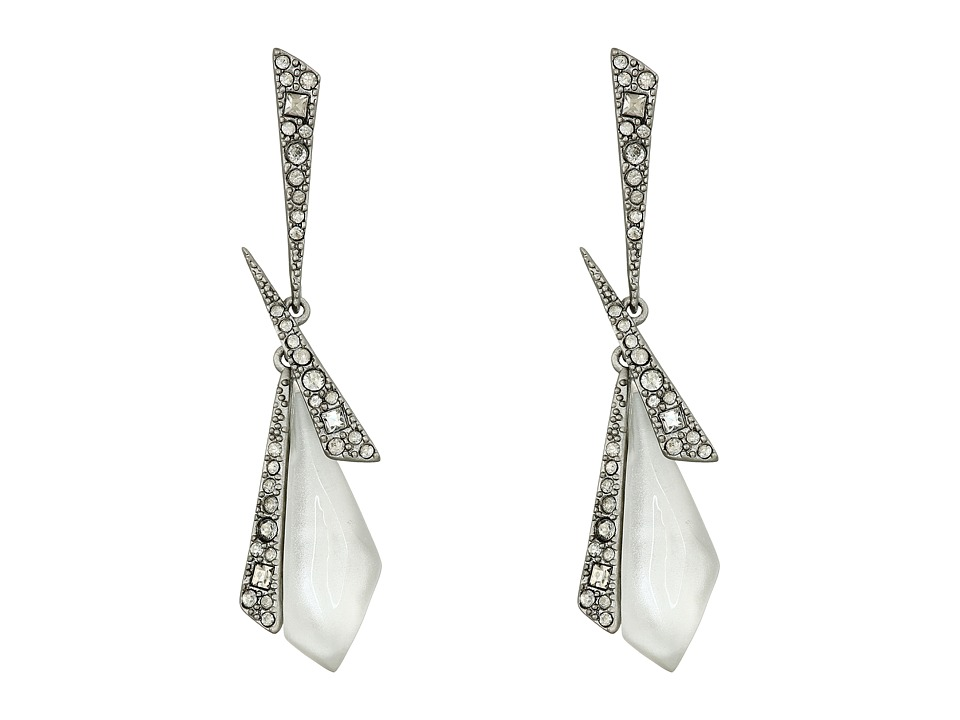 Alexis Bittar - Crystal Encrusted Dangling Origami Post Earrings (Silver) Earring