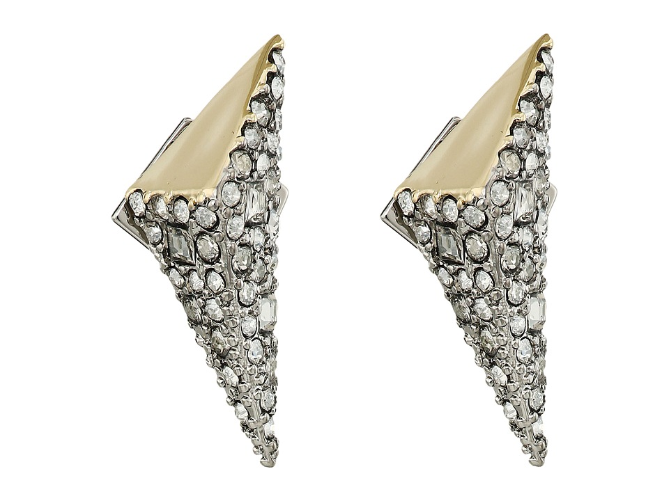 Alexis Bittar - Two-Tone Crystal Encrusted Pyramid Post Earrings (Matte Rhodium/High Shine 10K Gold) Earring