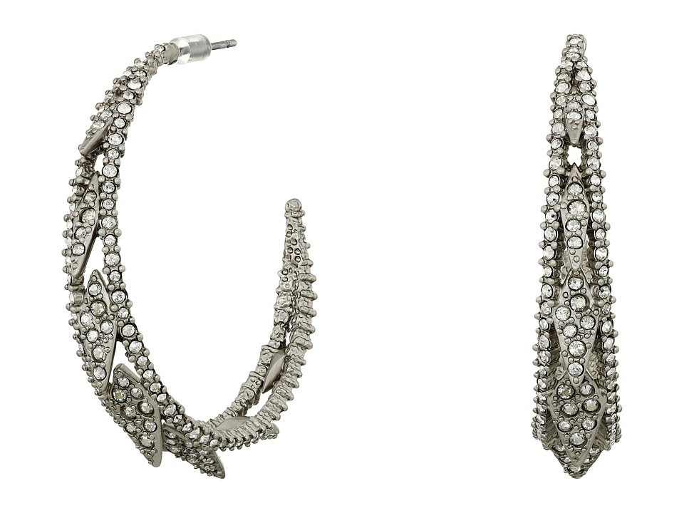 Alexis Bittar - Crystal Encrusted Spiked Lattice Hoop Earrings (Matte Rhodium) Earring
