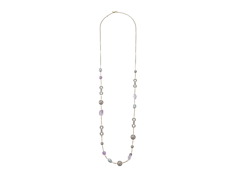 Alexis Bittar - Station Necklace w/ Crystal Lace Details (Rhodium/10K Gold) Necklace