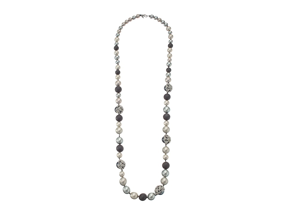 Alexis Bittar - Crystal Encrusted Mosaic Lace Modern Pearl Strand Necklace (Matte Rhodium) Necklace