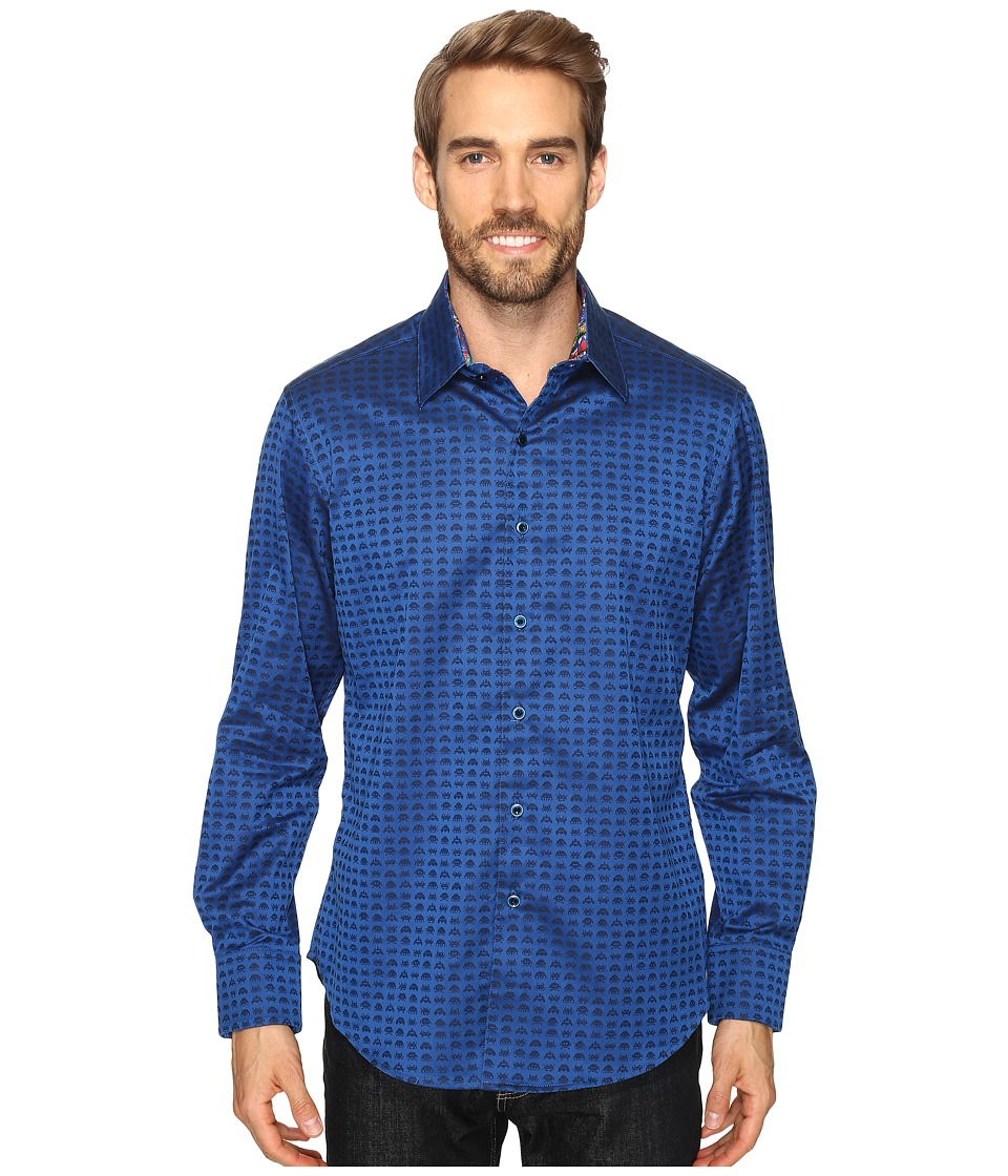 Robert Graham - Space Invaders Shirt (Navy) Men's Long Sleeve Button Up