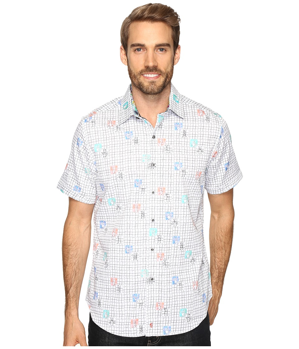 Robert Graham - Creatures Shirt (White) Men's Short Sleeve Button Up