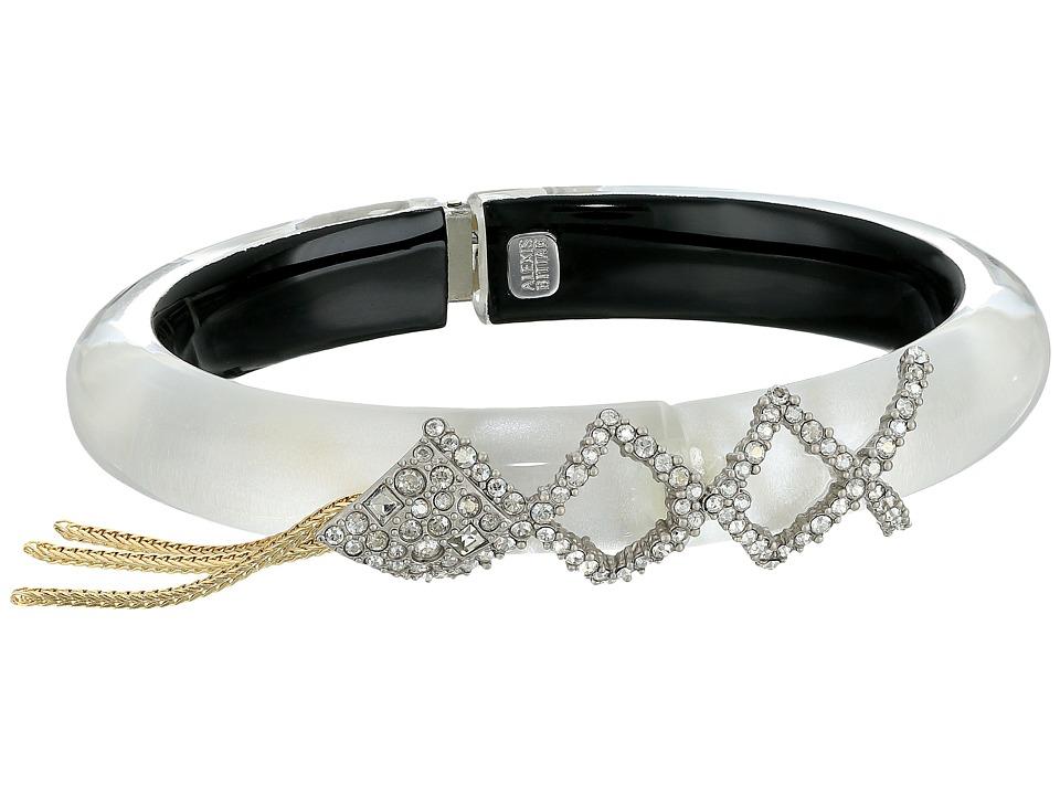 Alexis Bittar - Crystal Encrusted Lattice Lace Hinge w/ Vintage Fringe Bracelet (Silver) Bracelet