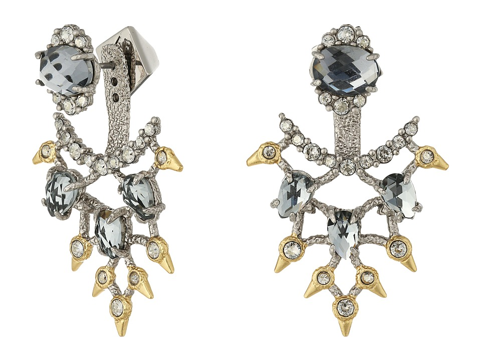 Alexis Bittar - Crystal Lace Ear Jacket w/ Custom Cut Stones Earrings (Rhodium/10K Gold) Earring