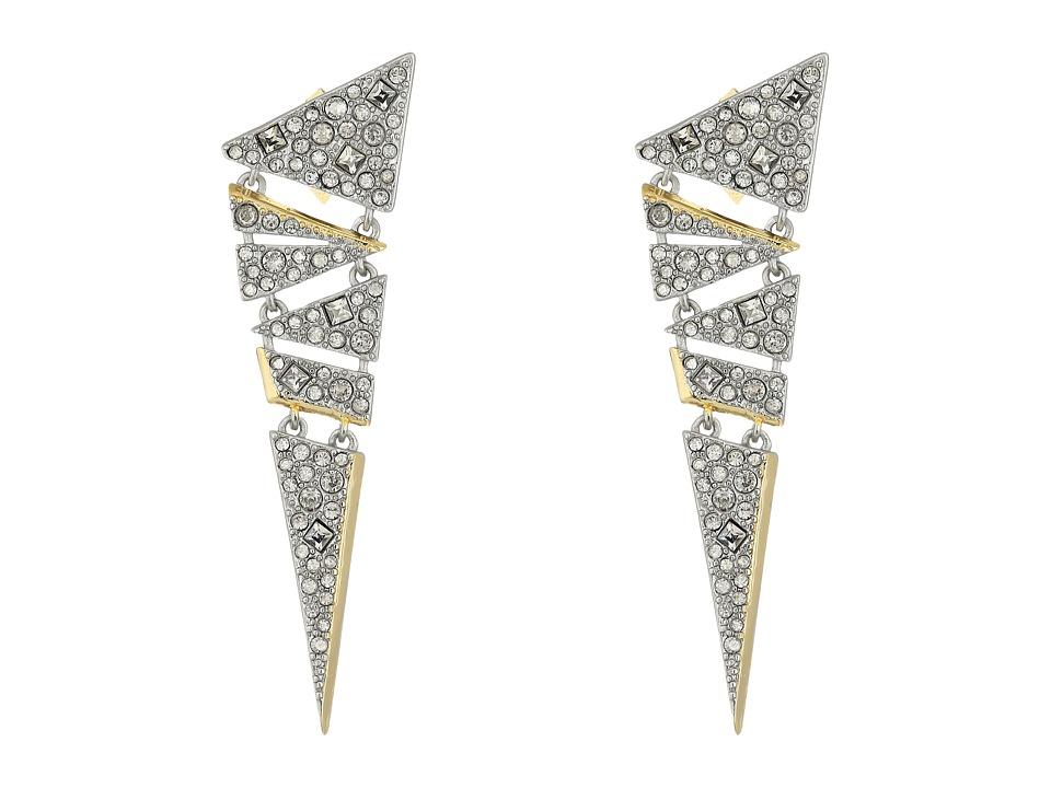 Alexis Bittar - Crystal Encrusted Mosaic Lace Dangling Post Earrings (Matte Rhodium/10K Gold) Earring
