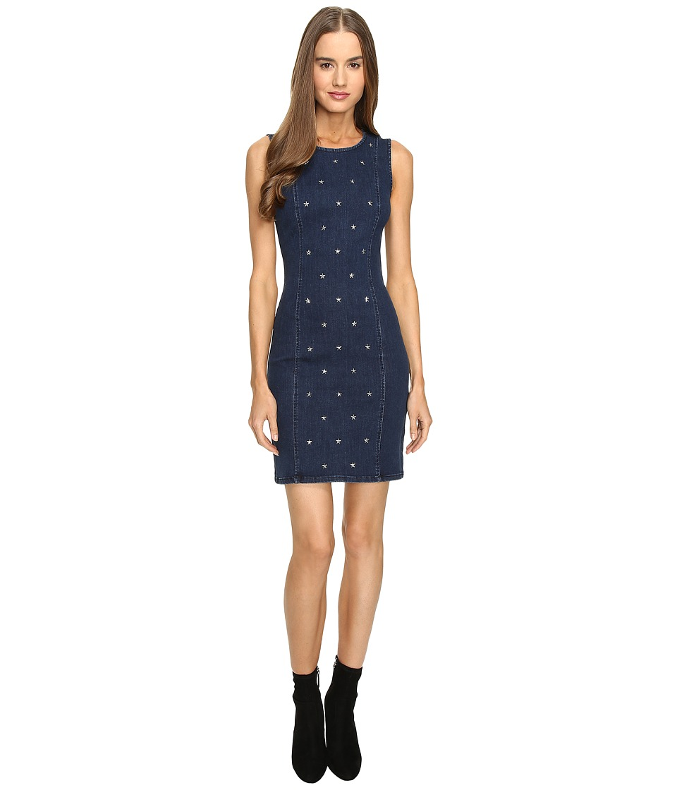 LOVE Moschino Star Studded Denim Dress (Blue Multi) Women