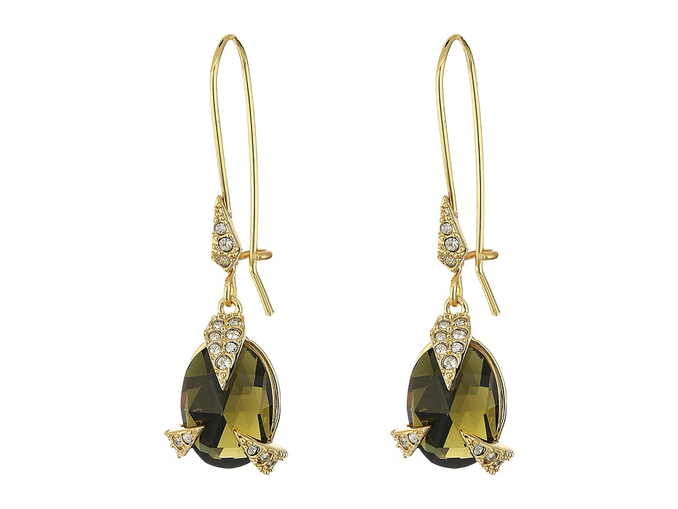 Alexis Bittar - Crystal Encrusted Mosaic Futurist Drop w/ Custom Cut Stone Earrings (10K Gold) Earring