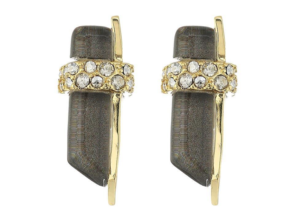 Alexis Bittar - Crystal Encrusted Minimalist Post Earrings (Ash) Earring