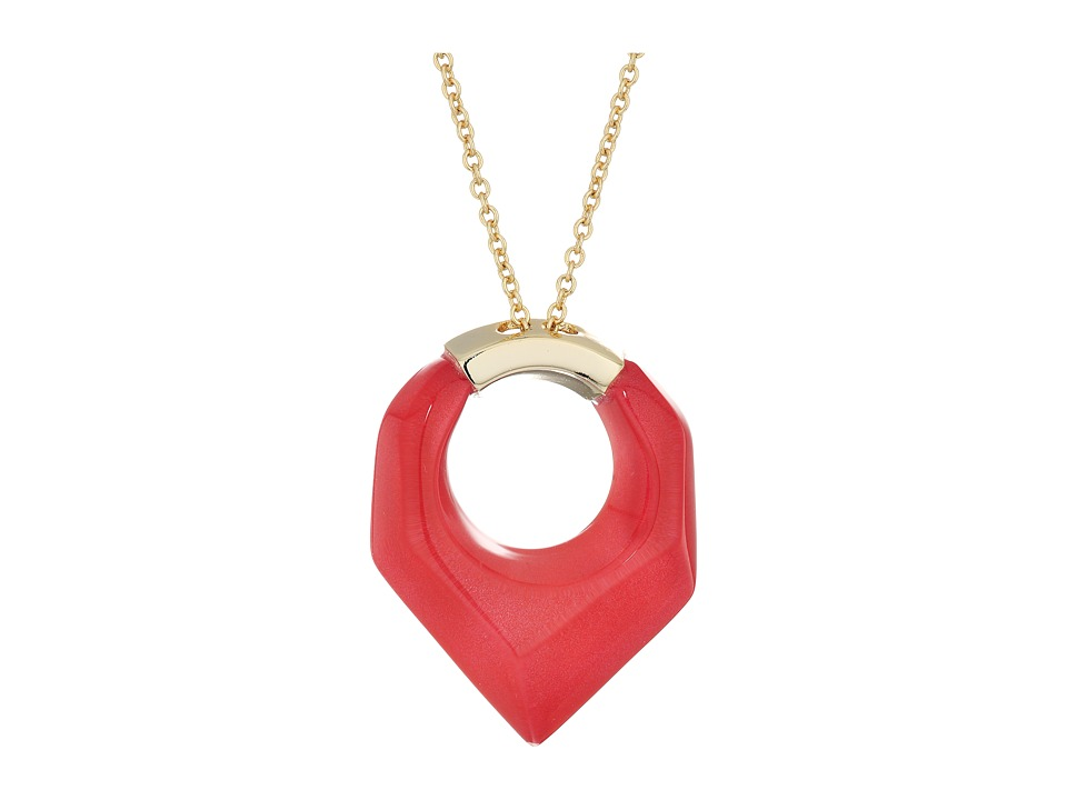 Alexis Bittar - Faceted Pentagon Pendant Necklace (Fire Opal) Necklace