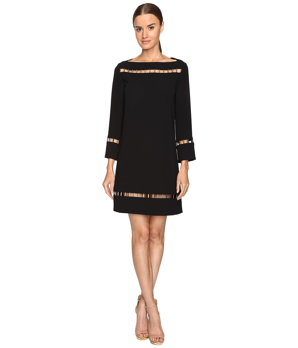 Versace Collection - Long Sleeve Boat Neck Dress (Black) Women's Dress