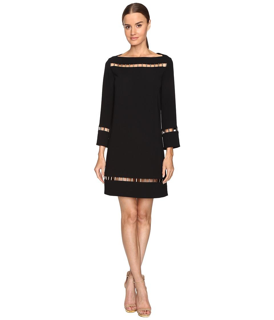 Versace Collection Long Sleeve Boat Neck Dress (Black) Women