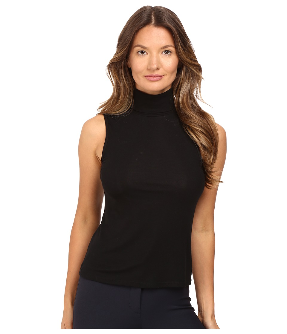 Theory - Wendel Ribbed Viscose Sleeveless Turtleneck Top (Black) Women's Sleeveless