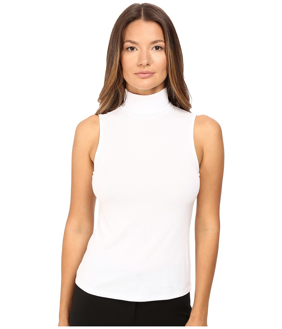 Theory - Wendel Ribbed Viscose Sleeveless Turtleneck Top (White) Women's Sleeveless
