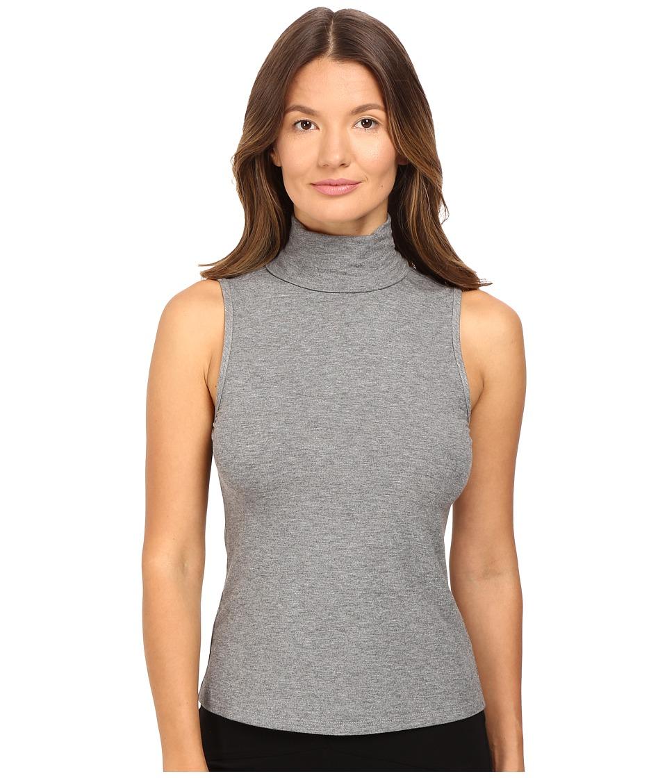 Theory - Wendel Ribbed Viscose Sleeveless Turtleneck Top (Grey Melange) Women's Sleeveless