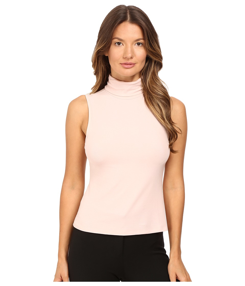 Theory - Wendel Ribbed Viscose Sleeveless Turtleneck Top (Blush) Women's Sleeveless