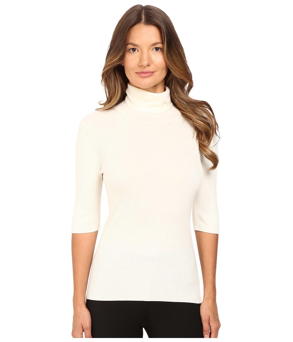 Theory - Leenda B Refine Short Sleeve Turtleneck (Ivory) Women's Short Sleeve Pullover