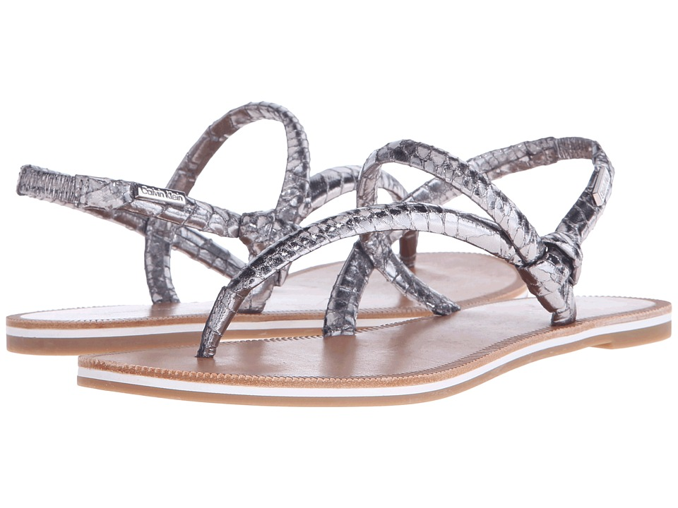 Calvin Klein - Alisia (Steel Metallic Snake Print Leather) Women's Sandals